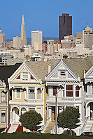 Victorian style homes and view of San Francisco skyline from Alamo Square, San Franciso, California