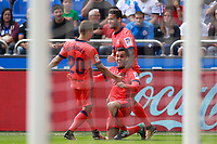 Real Sociedad's Kevin Rodrigues (l), Juanmi Jimenez (c) and William Jose celebrate goal during La Liga match. September 10,2017.  *** Local Caption *** © pixathlon<br /> Contact: +49-40-22 63 02 60 , info@pixathlon.de