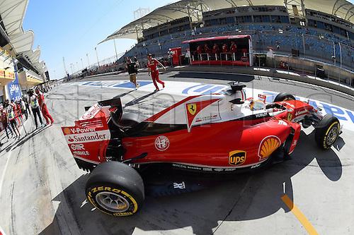 02.04.2016. Sakhir, Bahrain. F1 Grand Prix of Bahrain, qualification Saturday.  Sebastian Vettel, Scuderia Ferrari, formula 1 GP on his way to 3rd on pole