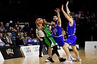 Saints' Jordan Ngatai and Saints' Rob Loe in action during the NBL - Cigna Saints v Manawatu Jets at TSB Bank Arena, Wellington, New Zealand on Sunday 30 June 2019. <br /> Photo by Masanori Udagawa. <br /> www.photowellington.photoshelter.com
