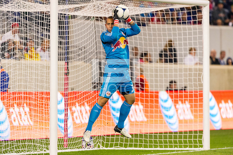 New York Red Bulls goalkeeper Luis Robles (31) makes a save. The New York Red Bulls defeated Toronto FC 4-1 during a Major League Soccer (MLS) match at Red Bull Arena in Harrison, NJ, on September 29, 2012.