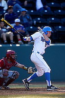 Chris Keck #25 of the UCLA Bruins bats against the Oklahoma Sooners at Jackie Robinson Stadium on March 9, 2013 in Los Angeles, California. (Larry Goren/Four Seam Images)