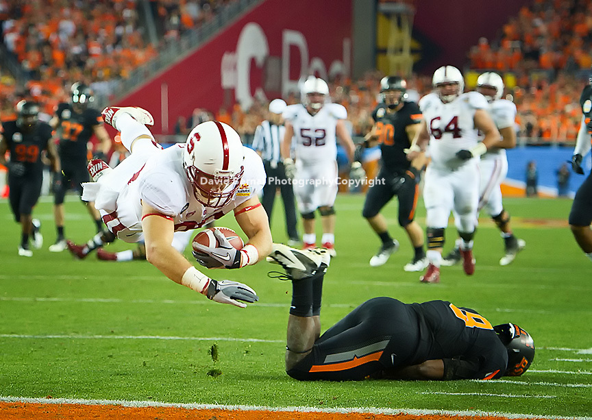 STANFORD, CA - January 2, 2012: Stanford tight end Zach Ertz (86) dives for a touchdown against Oklahoma State at the Fiesta Bowl at University of Phoenix Stadium in Phoenix, AZ. Final score Oklahoma State wins 41-38.