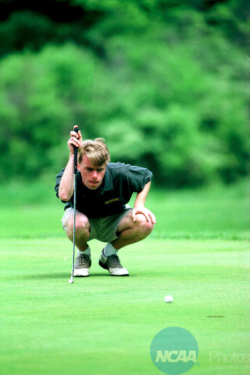 Caption: 24 May 1996: Skidmore College's Mike Porter tied for 5th with Brian Unk of John Carroll University in the NCAA Division 3 Men's Golf Championship at Saratoga Spa State Park Championship Course in Saratoga, NY. Skidmore College placed second in the team competition with a total of 1186 in the four day event. Porter shot a 292. Paul Buckowski/NCAA Photos
