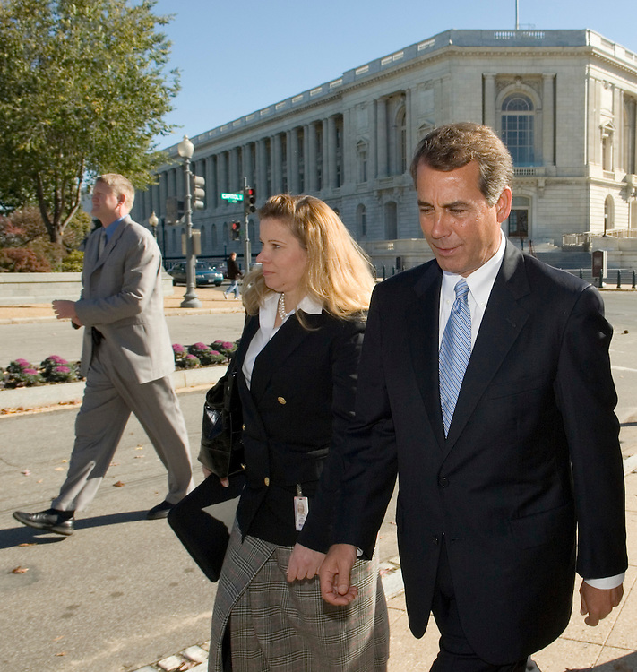 Rep. John Boehner, R-Ohio, the newly elected House Minority Leader heads to the Capitol after the announcement of GOP House leadership elections in the Longworth Building in Washington on Friday, Nov. 17, 2006.