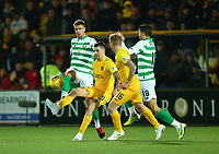4th March 2020; Almondvale Stadium, Livingston, West Lothian, Scotland; Scottish Premiership Football, Livingston versus Celtic; Kris Ajer of Celtic and Lyndon Dykes of Livingston challenge for the ball