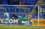 12.05.2018 St Johnstone v Ross County: David Wotherspoon's shot sails past Scott Fox