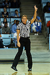 03 January 2016: Referee Dee Kantner. The University of North Carolina Tar Heels hosted the Clemson University Tigers at Carmichael Arena in Chapel Hill, North Carolina in a 2015-16 NCAA Division I Women's Basketball game. UNC won the game 72-56.