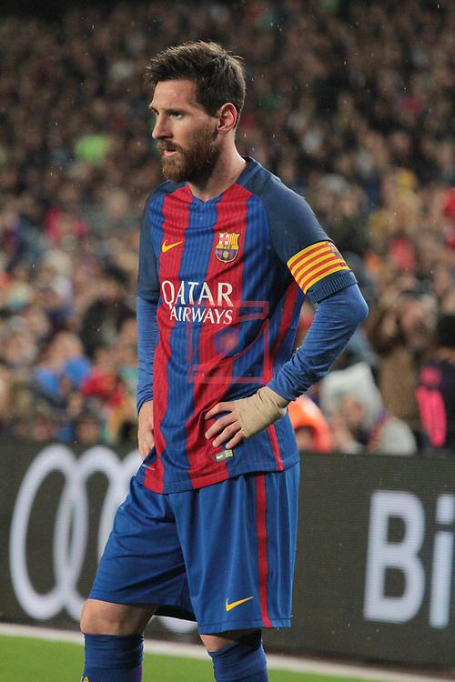 League Santander 2016/2017. Game: 32.<br /> FC Barcelona vs Real Sociedad: 3-2.<br /> Lionel Messi.