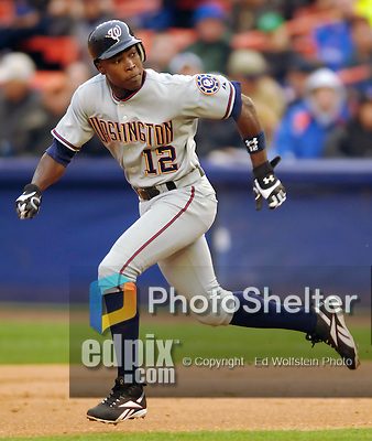 3 April 2006: Alfonso Soriano, outfielder for the Washington Nationals hustles on the basepath during Opening Day against the New York Mets at Shea Stadium, in Flushing, New York. The Mets defeated the Nationals 3-2 to lead off the 2006 MLB season...Mandatory Photo Credit: Ed Wolfstein Photo..
