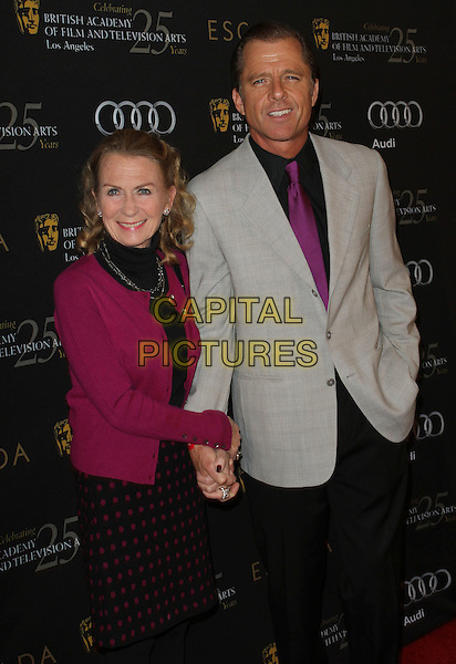 Juliet Mills & Maxwell Caulfield.18th Annual BAFTA Los Angeles Awards Season Tea Party held at the Four Seasons Hotel, Beverly Hills, California, USA..January 14th, 2012.half length pink blazer black red polka dot dress grey gray suit jacket tie.CAP/ADM/KB.©Kevan Brooks/AdMedia/Capital Pictures.