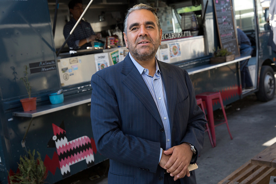 Portrait of Ramon Toledo, chief executive of digital media group Busca Corp, at Telefonica Gastro Park, a place with different food trucks in Tijuana, Mexico on August 6, 2017. Photo by Bénédicte Desrus