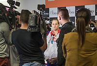 Bratislava, Slovenia, April 21, 2017,  FedCup: Slovakia-Netherlands, Draw ceremony, interview with Jana Cepelova (SVK)<br /> Photo: Tennisimages/Henk Koster