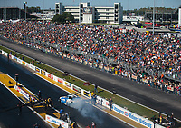 Sep 22, 2018; Madison, IL, USA; Overall view of Gateway Motorsports Park as NHRA funny car driver John Force does a burnout during qualifying for the Midwest Nationals. Mandatory Credit: Mark J. Rebilas-USA TODAY Sports