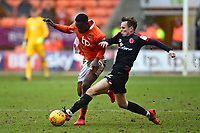 Blackpool's Viv Solomon-Otabor is challenged by Walsall's Liam Kinsella<br /> <br /> Photographer Richard Martin-Roberts/CameraSport<br /> <br /> The EFL Sky Bet League One - Blackpool v Walsall - Saturday 10th February 2018 - Bloomfield Road - Blackpool<br /> <br /> World Copyright &not;&copy; 2018 CameraSport. All rights reserved. 43 Linden Ave. Countesthorpe. Leicester. England. LE8 5PG - Tel: +44 (0) 116 277 4147 - admin@camerasport.com - www.camerasport.com