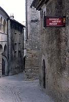 The sign to Sextantion in Santo Stefano di Sessanio, an hotel which offers guests the unique opportunity to sleep in the restored palazzo of this historic village
