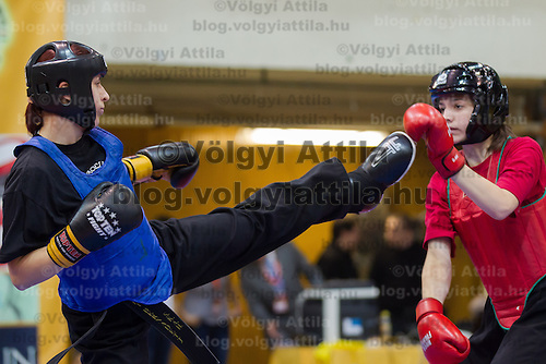 Veronika Pakscha (red) and Bernadett Turi (black) fight during the 3rd International Chan Wu, Traditional Kung Fu and Wu Shu Championships in Budapest, Hungary on November 24, 2012. ATTILA VOLGYI