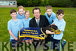 Children from Castledrum NS Castlemaine Jack Evans,Abva Meikle,Eavha O'Callaghan,Oisín O'Dowd and Dylan O'Connor. who launched their night at the dogs for June 10th at Kingdom Greyhound Stadium,Tralee with Declan Dowling from (KGS on Wednesday at their school.