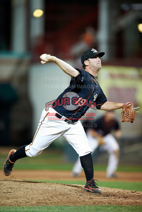 Erie Seawolves pitcher Robbie Weinhardt #19 during an Eastern League game against the Altoona Curve at Jerry Uht Park on August 31, 2012 in Erie, Pennsylvania.  Altoona defeated Erie 4-3.  (Mike Janes/Four Seam Images)