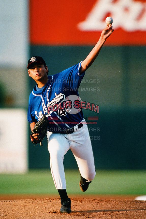 Randey Dorame of the San Bernardino Stampede during a California League baseball game at The Ranch circa 1999 in San Bernardino,CA. (Larry Goren/Four Seam Images)