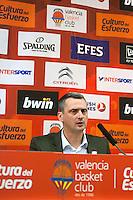 VALENCIA, SPAIN - 05/12/2014. Radonjic entrenador del Estrella Roja durante la rueda de prensa al terminar el partido. Pabellon Fuente de San Luis, Valencia, Spain.
