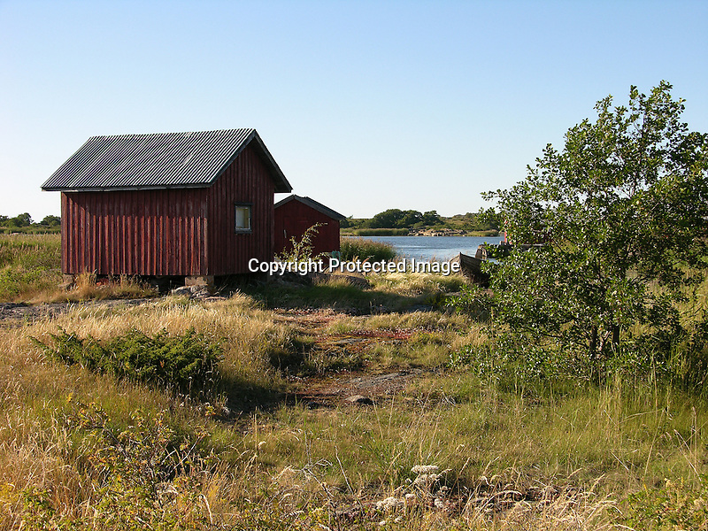 Fishing Sheds in the Harbor on Island of Kökar, Åland, Finland