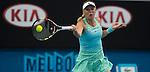 Caroline Wozniacki (DEN) loses to Victoria Azarenka (BLR) 6-4, 6-2 at the Australian Open being played at Melbourne Park in Melbourne, Australia on January 22, 2015