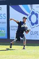 Phil Maton (11) of the Tri-City Dust Devils throws in the outfield before a game against the Vancouver Canadians at Nat Bailey Stadium on July 23, 2015 in Vancouver, British Columbia. Tri-City defeated Vancouver, 6-4. (Larry Goren/Four Seam Images)