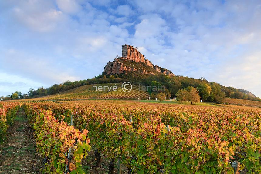 France, Saône-et-Loire (71), Solutré-Pouilly, la Roche de Solutré et le vignoble de Pouilly-Fuissé en automne // France, Saone et Loire, Solutre Pouilly, Rock of Solutre and vineyard fall
