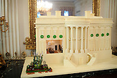 Washington, DC - December 1, 2009 -- A replica of the White House, made of gingerbread and white chocolate,  is displayed in the State Dining Room of the White House, Tuesday, December 1, 2009. .Mandatory Credit: Samantha Appleton - White House via CNP