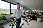 Jochen Bessemans, Ridley PR & Marketing Manager shows me at frame in the R&D office at the Ridley factory in Paal-Beringen, Belgium, 21st March 2013 (Photo by Eoin Clarke 2013)