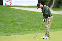 Mikko Korhonen (FIN) putts on the 1st green during Saturday's rain delayed Round 2 of the Andalucia Valderrama Masters 2018 hosted by the Sergio Foundation, held at Real Golf de Valderrama, Sotogrande, San Roque, Spain. 20th October 2018.<br /> Picture: Eoin Clarke | Golffile<br /> <br /> <br /> All photos usage must carry mandatory copyright credit (&copy; Golffile | Eoin Clarke)