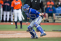 Seton Hall Pirates catcher Tyler Boyd (30) blocks a throw at home plate during the game against the Virginia Cavaliers at The Ripken Experience on February 28, 2015 in Myrtle Beach, South Carolina.  The Cavaliers defeated the Pirates 4-1.  (Brian Westerholt/Four Seam Images)