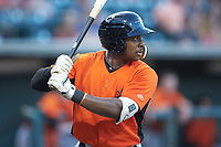 Randolph Gassaway (1) of the Frederick Keys at bat against the Winston-Salem Dash at BB&T Ballpark on July 26, 2018 in Winston-Salem, North Carolina. The Keys defeated the Dash 6-1. (Brian Westerholt/Four Seam Images)