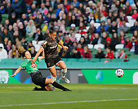 3rd November 2019; Aviva Stadium, Dublin, Leinster, Ireland; FAI Cup Womens Final Football, Peamount United versus Wexford Youth Womens Football Club; Peamount United defender Louise Corrigan slides in to stop Rianna Jarrett's advances for Wexford Youths  - Editorial Use