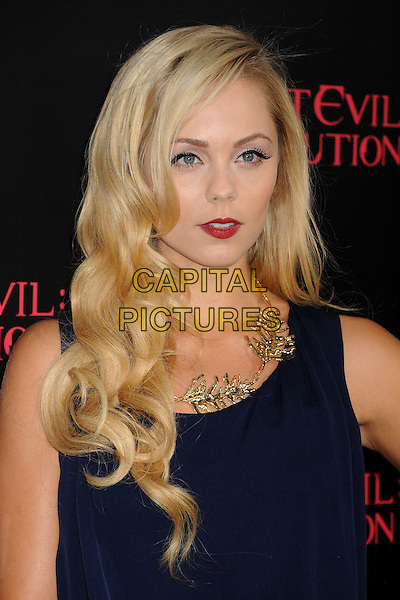 "Laura Vandervoort.""Resident Evil: Retribution"" Los Angeles Premiere held at Regal Cinemas L.A. Live, Los Angeles, California, USA..September 12th, 2012.headshot portrait blue gold necklace red lipstick .CAP/ADM/BP.©Byron Purvis/AdMedia/Capital Pictures."