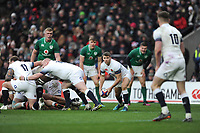 Richard Wigglesworth of England passes during the NatWest 6 Nations match between England and Ireland at Twickenham Stadium on Saturday 17th March 2018 (Photo by Rob Munro/Stewart Communications)