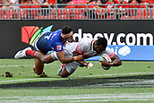 2nd February 2019, Spotless Stadium, Sydney, Australia; HSBC Sydney Rugby Sevens; Samoa versus Japan; Kameli Raravou Soejima of Japan scores a try as Alatasi Tupou of Samoa fails to stop him