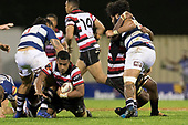 Fotu Lokotui looks to gain an extra metre as he goes to ground. Mitre 10 Cup rugby game between Counties Manukau Steelers and Auckland played at ECOLight Stadium, Pukekohe on Saturday August 19th 2017. Counties Manukau Stelers won the game 16 - 14 and retain the Dan Bryant Memorial trophy.<br /> Photo by Richard Spranger.