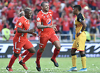 CALI - COLOMBIA, 15-02-2020: Juan Pablo Segovia del América celebra después de anotar el segundo gol de su equipo partido por la fecha 5 de la Liga BetPlay DIMAYOR I 2020 entre América de Cali y Deportivo Independiente Medellín jugado en el estadio Pascual Guerrero de la ciudad de Cali. / Juan Pablo Segovia of America celebrates after scoring the second goal of his team during match for the for the date 5 as part of BetPlay DIMAYOR League I 2020 between America de Cali and Deportivo Independiente Medellin played at Pascual Guerrero stadium in Cali. Photo: VizzorImage / Gabriel Aponte / Staff