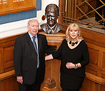 Unveiling of the Sandy Jardine bust on the marble staircase at Ibrox.  John Greig and Shona Jardine