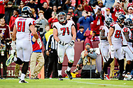 Landover, MD - November 4, 2018: Atlanta Falcons offensive guard Wes Schweitzer (71) is fired up after a late fourth quarter touchdown to seal the game between the Atlanta Falcons and the Washington Redskins at FedEx Field in Landover, MD. The Falcons defeated the Redskins 38-13. (Photo by Phillip Peters/Media Images International)