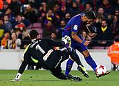 Luis Suarez,11th January 2018, Camp Nou, Barcelona, Spain; Copa del Rey football, round of 16, 2nd leg, Barcelona versus Celta Vigo; Luis Suarez goes around goalkeeper Álvarez in the 31st minute to score for 3-0