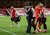 Brentford Manager, Thomas Frank celebrates their victory at the final whistle as he embraces Josh DaSilva during Brentford vs Swansea City, Sky Bet EFL Championship Play-Off Semi-Final 2nd Leg Football at Griffin Park on 29th July 2020