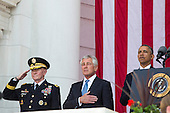 From L to R, United States Army General Martin Dempsey, Chairman of the Joint Chiefs of Staff, U.S. Secretary of Defense Chuck Hagel, and U.S. President Barack Obama stand together during a Memorial Day event at Arlington National Cemetery, May 26, 2014 in Arlington, Virginia. President Obama returned to Washington Monday morning after a surprise visit to Afghanistan to visit U.S. troops at Bagram Air Field. <br /> Credit: Drew Angerer / Pool via CNP