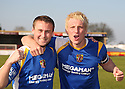 Joel Byrom (l) and Mark Roberts of Stevenage Borough celebrate promotion after the Blue Square Premier match between Kidderminster Harriers and Stevenage Borough at the Aggborough Stadium, Kidderminster on Saturday 17th April, 2010..© Kevin Coleman 2010