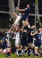 Tom Ellis of Bath Rugby steals the ball at a lineout. Heineken Champions Cup match, between Leinster Rugby and Bath Rugby on December 15, 2018 at the Aviva Stadium in Dublin, Republic of Ireland. Photo by: Patrick Khachfe / Onside Images