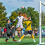 3 October 2015: University of Vermont Catamount Forward Brian Wright, a Junior from Ajax, Ontario, scores Vermont's lone goal against Binghamton University Bearcat Goalkeeper Robert Moewes, a Junior from Dortmund, Germany, with just over 4 minutes to play at Virtue Field in Burlington, Vermont. The Catamounts were unable to complete the late game rally, falling to the Bearcats 2-1 in America East conference play. Mandatory Credit: Ed Wolfstein Photo *** RAW (NEF) Image File Available ***