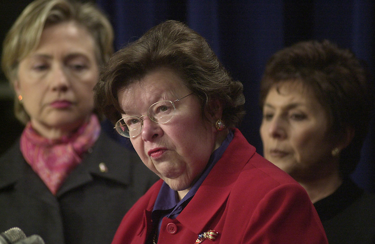 women6/012203 - Sen. Hillary Clinton (L), D-NY, Sen. Barbara Boxer (R), D-Ca., and Sen. Barbara Mikulski (C), D-Md., at a press conference on support for Roe v. Wade.