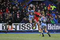 Garyn Smith of Cardiff Blues is tackled by Sean Maitland of Saracens during the Heineken Champions Cup match between Cardiff Blues and Saracens at Cardiff Arms Park in Cardiff, Wales. Saturday 15 December 2018